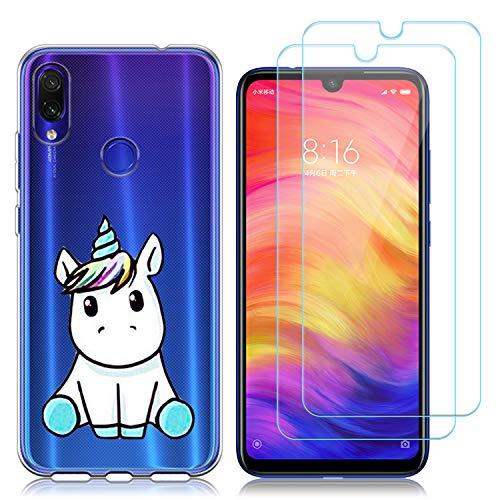 Funda Xiaomi Redmi Note 7, Cárcasa Silicona Transparente Gel TPU Protector Bumper Case Cover para Teléfono Móvil Xiaomi Redmi Note 7 Pro/Redmi Note 7 (Unicornio) con (2 Pack) Cristal Templado