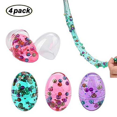 Swallowzy Mud Egg with Pearl Colorful Soft Slime Crystal Clay Stress Relief...