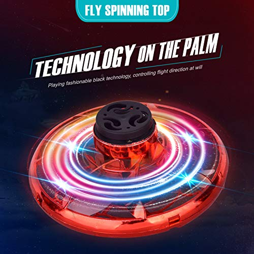ALTHSITW Flying Spinner,Hand Operated Drones for Kids or AdultsStress Reliever Social Toys Mini LED Hands Drone for Boys and Girls Gift。 (red)
