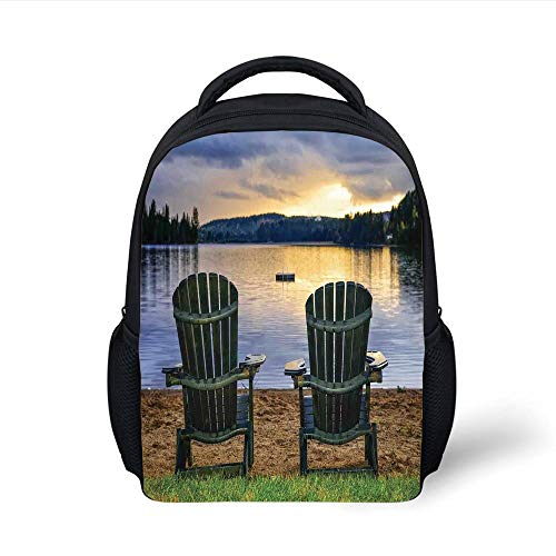 Kids School Backpack Seaside Decor,Two Wooden Chairs on Relaxing Lakeside at Sunset Algonquin Provincial Park Canada,Navy Green Plain Bookbag Travel Daypack