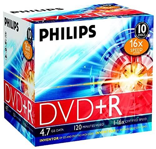 Philips DVD+R Rohlinge (4.7 GB Data/ 120 Minuten Video, 16x High Speed Aufnahme, 10er Jewel Cases)
