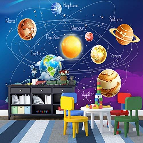 HUATULAI muurschildering 3D achtergrond aangepaste muurschildering Cartoon Planet Solar System Foto kinderkamer slaapkamer muurschildering woonkamer behang 200 x 140 cm.