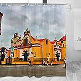 Perú Trujillo Cortina de ducha Viaje Decoración de baño Set con ganchos Poliéster 72x72 pulgadas (YL-04646)