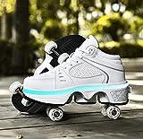 Zapatos De Patín De Ruedas con Luz LED con Ruedas Zapatos De Patín De Ruedas con Tira De LED Mejorados 7 Colores Que Cambian Divertidos Entrenadores Multideporte,White-37