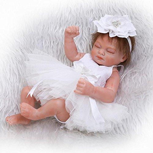 Pinky Reborn 10 Pulgadas 26cm Ojos Cerrados Vestido Blanco Reborn Baby Girl Dolls Vinilo Completo Cuerpo Silicona Realista Newborn Baby Doll Muñeco Peluche Gratis Mejor Regalo para Navidad