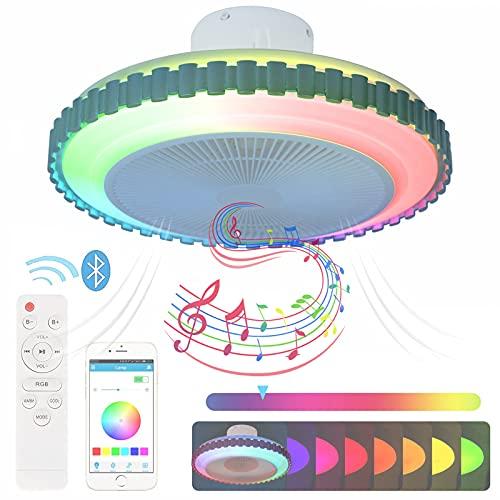 Ventilador de Techo con Lámpara Mando A Distancia y APP LED RGB Plafón de Techo Regulable Luz Ventilador Invisible Altavoz Bluetooth Música Silencioso Smart Lámpara Techo Decoración Iluminación 50cm