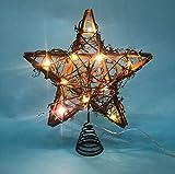 LAWOHO Árbol de Navidad Rattan Natural Star Árbol de Navidad de 10 Pulgadas y decoración navideña Apta para árboles de Navidad de tamaño General