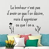 Sticker citation Le bonheur Noir - 30 x 55 cm