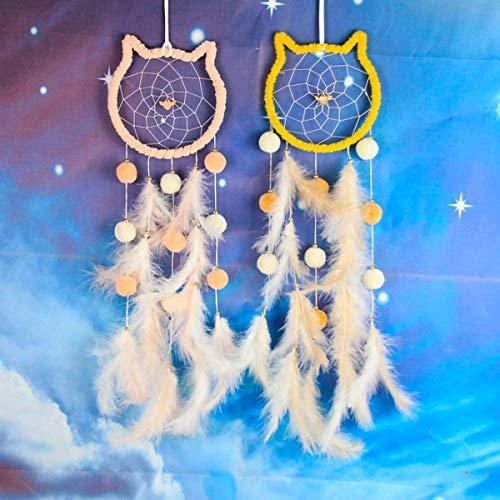 Qiundar Atrapasueños Grande, 2 Pieza Atrapasueños Infantil Pared Dream Catcher,para Decoración de Dormitorios y Salas de Estar(Rosa, Amarillo)