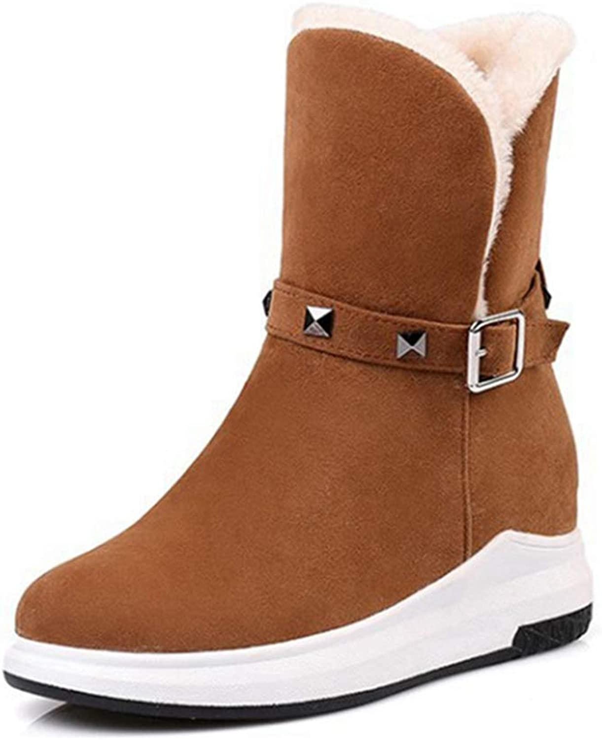 GIY Women's Fashion Suede Snow Ankle Boots Low Heel Buckle Waterproof Boots Winter Warm Snow Short Booties