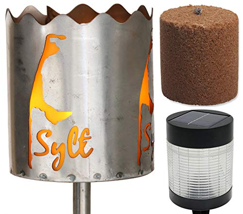 Novaliv Gartenfackel Sylt Feuerschale Metall mit Stiel Brennmittel LED Solar Lampe Gartenleuchte Solarleuchte