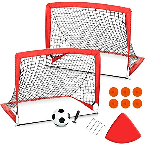 Weanas Soccer Goals Set of 2 for Backyard, 4'x3' Portable Kids Pop Up Goal Nets with 6 Agility Training Cones, 1 Portable Carrying Case, 1 Football, 1 Pump for Games and Training for Kids and Teens