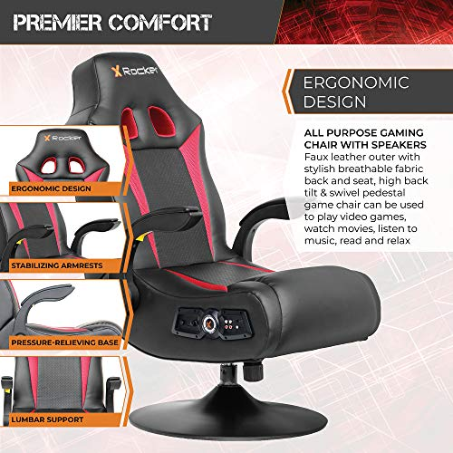 X Rocker 2.1 Wireless Bluetooth Vibe SE Audi Vibrating Video Foldable Gaming Chair with Pedestal Base and High Tech Audio-Tilt & Swivel Design w/ Lumbar Support, Head & Arm Rests - Black/Red, 5125401