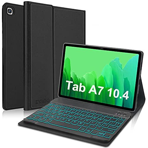 KVAGO Tastiera per Tablet Samsung Galaxy Tab A7 10.4' 2020 [SM-T505/T500/T507] - Custodia Ultra Sottile con Italiano Tastiera Bluetooth Wireless [Retroilluminato], Nero