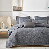 Uozzi Bedding 3 Piece Dark Gray Quilt Set with Banana Leaves Pattern Reversible Soft Microfiber Lightweight King Adult Summer Coverlet Bedspread for All Season
