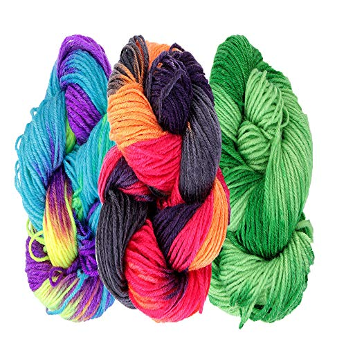 Multi-Colored Hand Knitting Yarn, Hand-Knitted Acrylic Fibers Yarn, Soft Fibre Dyed, Perfect for Making Sweaters, Cushions, Three-Dimensional Embroidery, Various Crafts (3-Pack)