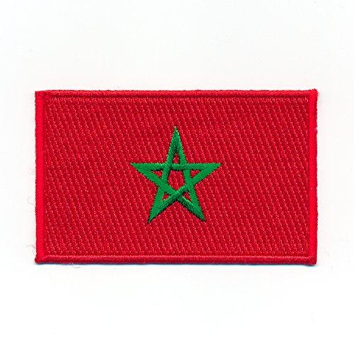 40 x 25 mm Marokko Casablanca Rabat Agadir Flagge Aufnäher Aufbügler 0990 A