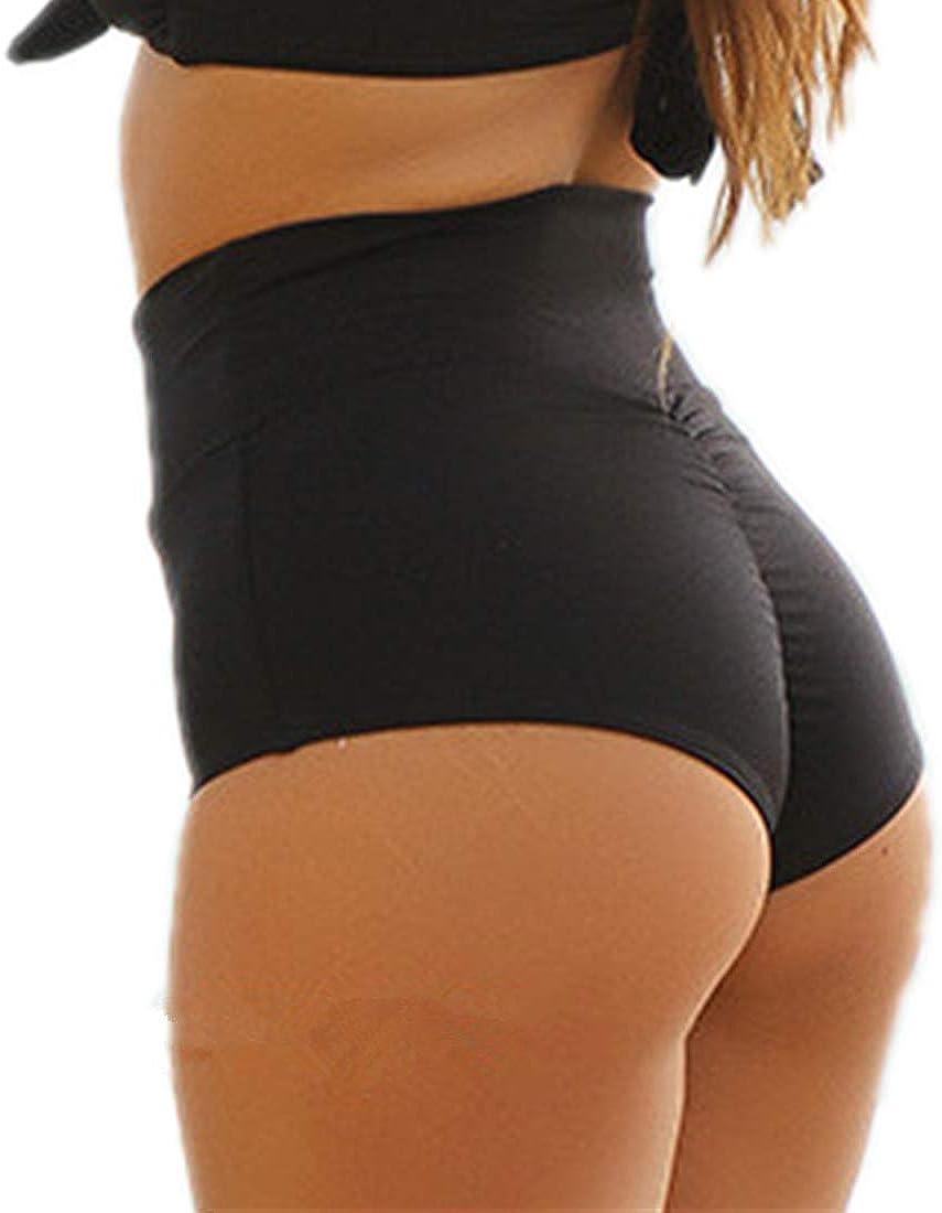 Women Vintage Retro Brazilian Ruched Butt High Waisted Bathing Bikini Bottoms
