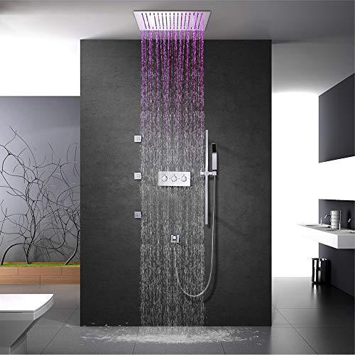 LED-Deckendusche 16-Zoll-Thermostat Dusche Wasserhahn Niederschlag Badezimmer Duschkopf Spa Mehrere Funktionen Dusche Messing,A1:remotecontrol