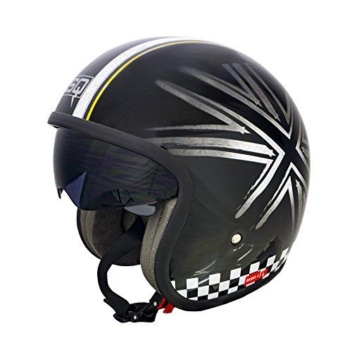 QSQ SQ Rebel 4 Grafic Casque de moto Noir/gris/jaune Taille L