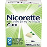 Nicorette 2mg Nicotine Gum to Quit Smoking - Flavored Stop Smoking Aid, Mint 170 Count (Pack of 1)