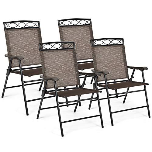 COSYWAY 4er Set Klappstühle Hochlehner, Gartenstuhl Klappsessel, Terrassenstühle Outdoor bis 120kg, Lehnstuhl Grau