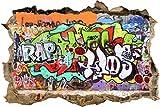 wandmotiv24 3D Wandsticker Graffiti 2 Design 01   klein Aufkleber Mauerdurchbruch M0026