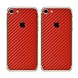 Paquete de 2 Fibra de Carbon Diseño Frustrar Resistente a rayones atrás Pegatina para iPhone 7 | Antideslizante, Antipolvo, Ultra Delgado (70 Micrones) | Espalda a Prueba de Arañazos