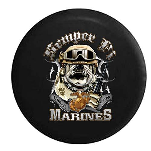 Not Applicable Reserveradabdeckung,American Unlimited Semper Fi Bulldog USMC Globus Mit Eagle Logo M16 Edelstahloptik Ersatzreifenabdeckung,80-83cm