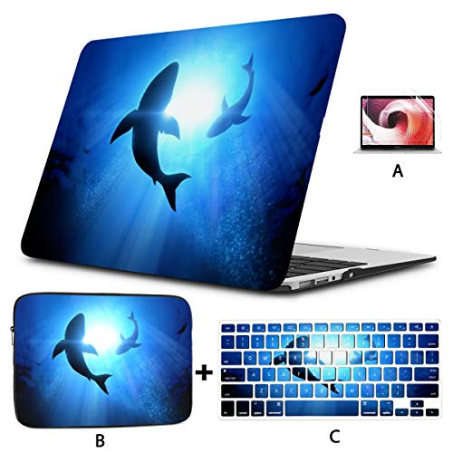 Mac Book Air Cover Under Waves Circle Great White Shark Laptop Protector Case Hard Shell Mac Air 11'/13' Pro 13'/15'/16' with Notebook Sleeve Bag for MacBook 2008-2020 Version