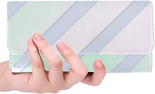 Unique Custom Soft Pastel Overlay Diagonal Geometric Stripes Women Trifold Wallet Long Purse Credit Card Holder Case Handbag