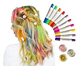 Kids Jumbo Hair Chalk Pens Temporary Washable - 10 Colors + 3 Glitters - Non-Toxic and Safe for Girls by ROUNDSQUARE