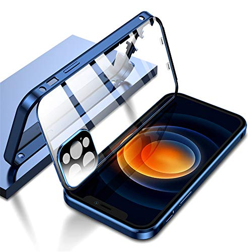 KMXDD Double Safety Lock Case for iPhone 11 Pro Max Bumper Case with Camera Lens Protector Double Sided Glass Built-in Screen Protector 360 Full Body Metal Frame Clear Cover (11ProMAX, Blue)