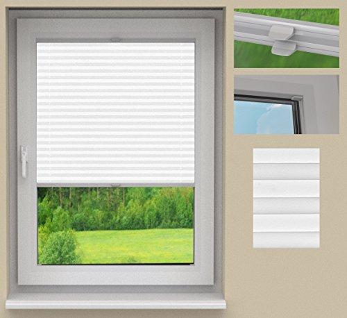 SUNLUX24 Plissee Basic auf Maß/Stoff: Weiß(PLB063) / Systemfarbe: Weiß/Montage: Im Glasfalz/Breite 20 bis 50cm x Höhe 50,1 bis 60cm