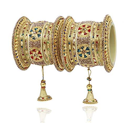 SANARA Newly Indian Bollywood 14 pcs Exclusive Wedding Multi Color Bridal Hanging Latken Lac Bangle Bracelet Set Jewelry (2.4)
