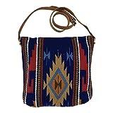 Huntley Blue Navajo Southwestern Aztec Print Shoulder Handbag, Large Zipper Purse Saddle Blanket Handbag