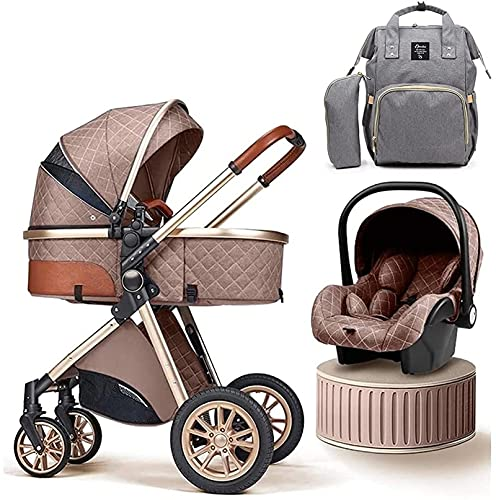 DERUKK-TY Cochecitos de bebé de Lujo con Bolsa para mamá, Cochecito de bebé 3 en 1, Cochecito de bebé, Carrito de bebé con Vista Alta (Color: Gris)