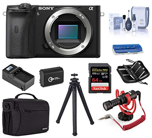 Sony Alpha a6600 Mirrorless Digital Camera Body Only, Audio Bundle with Rode VideoMicro Mic, Case, Battery, Charger, 64GB SD Card, and Accessories