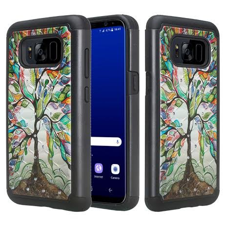 Compatible for Samsung Galaxy S8 Plus [Shock/Impact Resistant] Diamond Silicone Hybrid Dual Layer Armor Defender Protective Case Cover for Galaxy S8+ Plus, Colorful Tree
