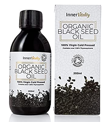 Organic Black Seed Oil Cold Pressed - 200ml High Strength 3X% - Certified Pure Virgin Oil in a Glass Bottle Rich in Omega 3 6 & 9 by Inner Vitality