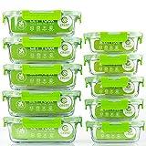 Lot de 10 récipients alimentaires en verre avec couvercles hermétiques pour cuisine, usage domestique, idéal pour la préparation des repas Vert