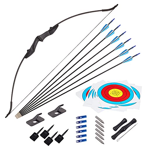 JINGYUN Recurve Bow and Arrow Set for Adult & Youth Beginner,Takedown Recurve Bow with Ergonomic Design for Outdoor Training Practice (20-40lbs) (20LB)