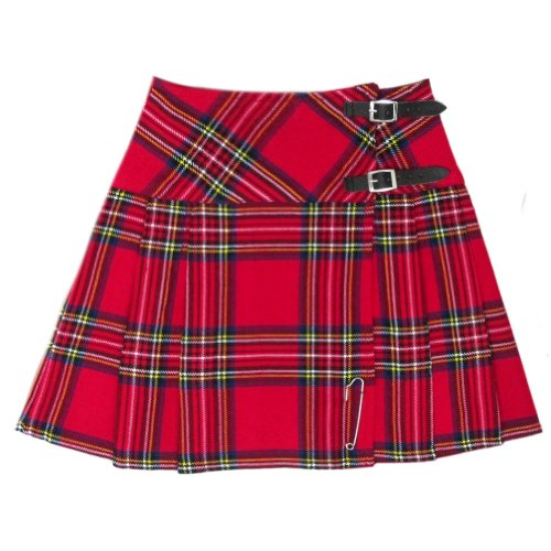 "Tartanista - Kilt/minifalda escocesa con correas - 41,9 (16,5"") - Royal Stewart - Rojo - EU38 UK10"