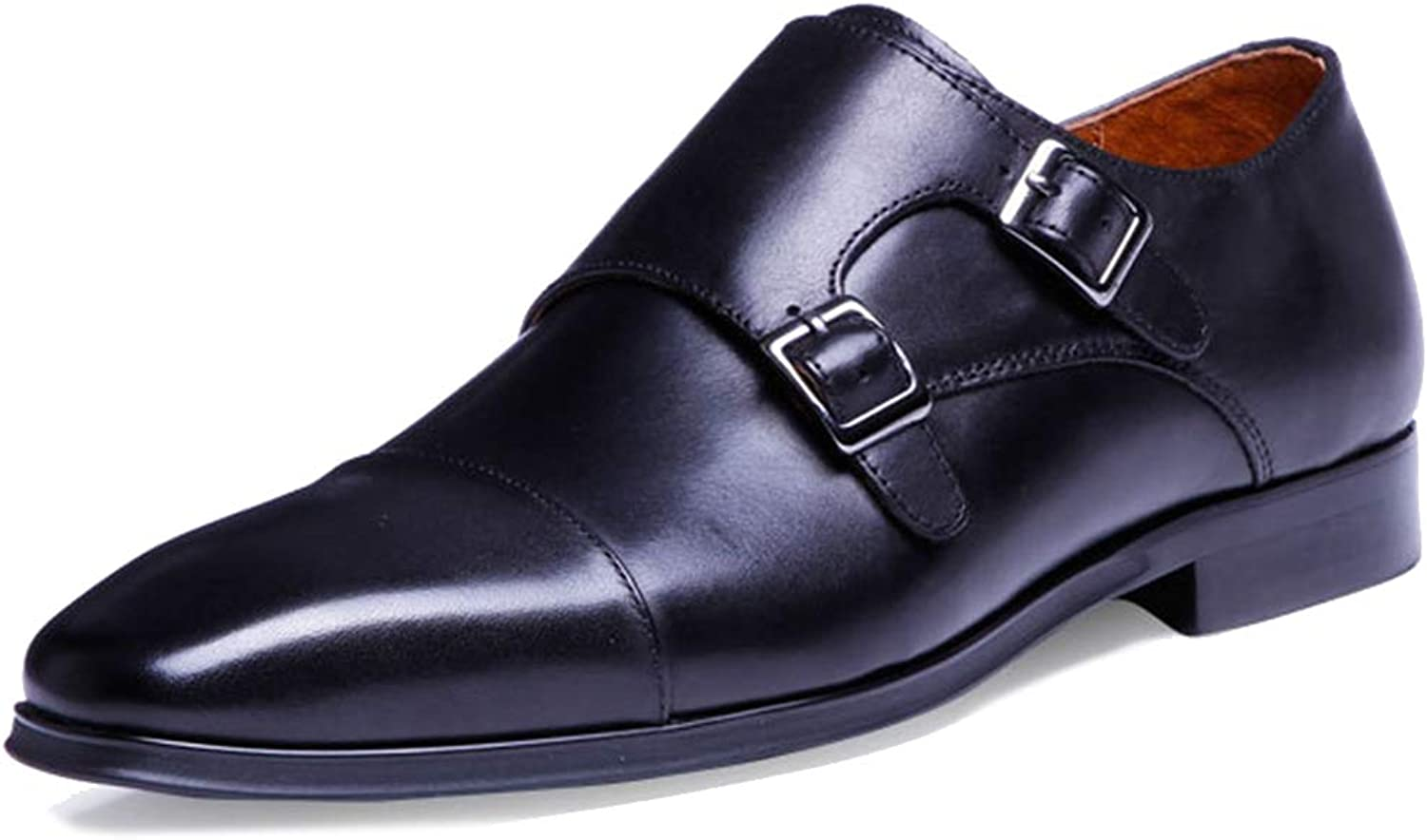 Men Monk shoes Genuine Leather Buckles Pointed Formal On shoes Dress Toe Business Slip Large Size