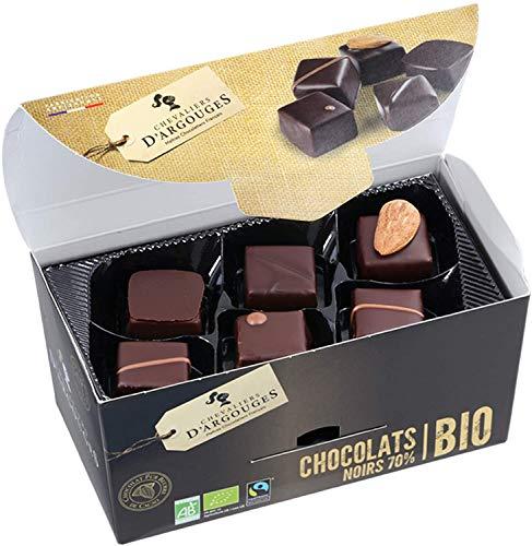 CHEVALIERS D'ARGOUGES Maîtres Chocolatiers Français Assortiment de Chocolats Noir 72% Bio/Équitable Ballotin Dégustation 180 g