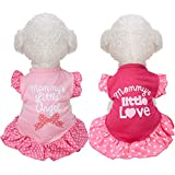 2 Pieces Pet Dress Shirt Puppy Skirt Cute Dog Dress Pet Summer Clothes Dog Apparel for Small Dogs and Cats (Love and Angel, Small)