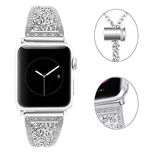 Myada Correa Apple Watch 38mm Diamond, Pulsera Apple Watch 40mm Series 4 Acero Inoxidable, Banda Apple Watch Metal de con Cierre Magnético, Pulsera Reemplazo para iWatch Serie 1/2/3/4