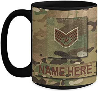 US Air Force (USAF) Staff Sergeant (SSgt) E5 OCP Coffee Cup - Personalized Military OCP Uniform 15 oz Mug - Customize with Name/Text/Rank (Black)