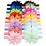 YHXX YLEN 20 Stück Baby Mädchen Haar Bogen Haar Bands Elastische Stirnbänder mit 3' Haar Bogen für Kleinkind Neugeborene