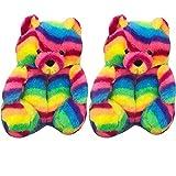 teddy bear slippers - Xiakolaka Women's Plush Teddy Bear Slippers, Indoor Home Plush Teddy Bear House Slippers Winter Warm Cute Teddy Bear Shoes Anti-Slip Animal Slippers Dark Colorful